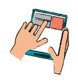 drawing hand touch tablet web page vector image