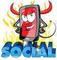 evil fun mobile cartoon on flame vector image