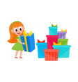 girl holding present box and pile of many gifts vector image