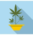 Hemp in pot icon flat style vector image