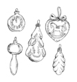 Set of vintage hand drawn balls and toys Christmas vector image