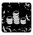 Coins icon grunge style vector image