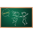 A blackboard with a sketch of two people dancing vector image vector image