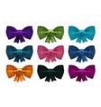 set of satin bows bowknot ribbon for decoration vector image vector image