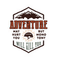 vintage adventure hand drawn label design vector image