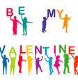Children silhouettes holding letters with BE MY vector image