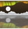 Arctic pole landscape with aurora borealis vector image