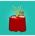 Holiday table with candles and delicious food vector image