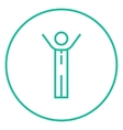 Man with raised arms line icon vector image