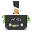 Money in hand suitcase vector image