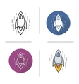 Spaceship flat design linear and color icons set vector image