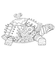 Steampunk style turtle coloring book vector image