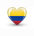 Heart-shaped icon with national flag of Colombia vector image