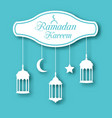 arabic simple card for ramadan kareem with lamps vector image vector image