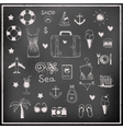 Set of chalk board travel elements vector image