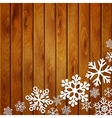 Christmas background with snowflakes on planks vector image