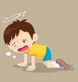 boy kneel down have dizziness vector image