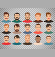man face avatars on transparent background vector image