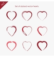 Set of abstract icons hearts vector image