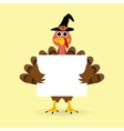 Turkey congratulatory banner on Thanksgiving Day vector image