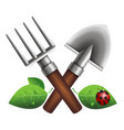 small garden shovel and pitchfork vector image
