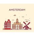 Amsterdam City skyline Trendy line art vector image