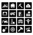 Black Mining and quarrying industry icons vector image vector image