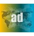 ad word on digital screen global communication vector image