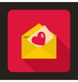Envelope with invitation card icon flat style vector image