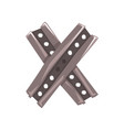 original letter x formed by two crossed steel vector image