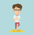 young caucasian woman practicing yoga tree pose vector image