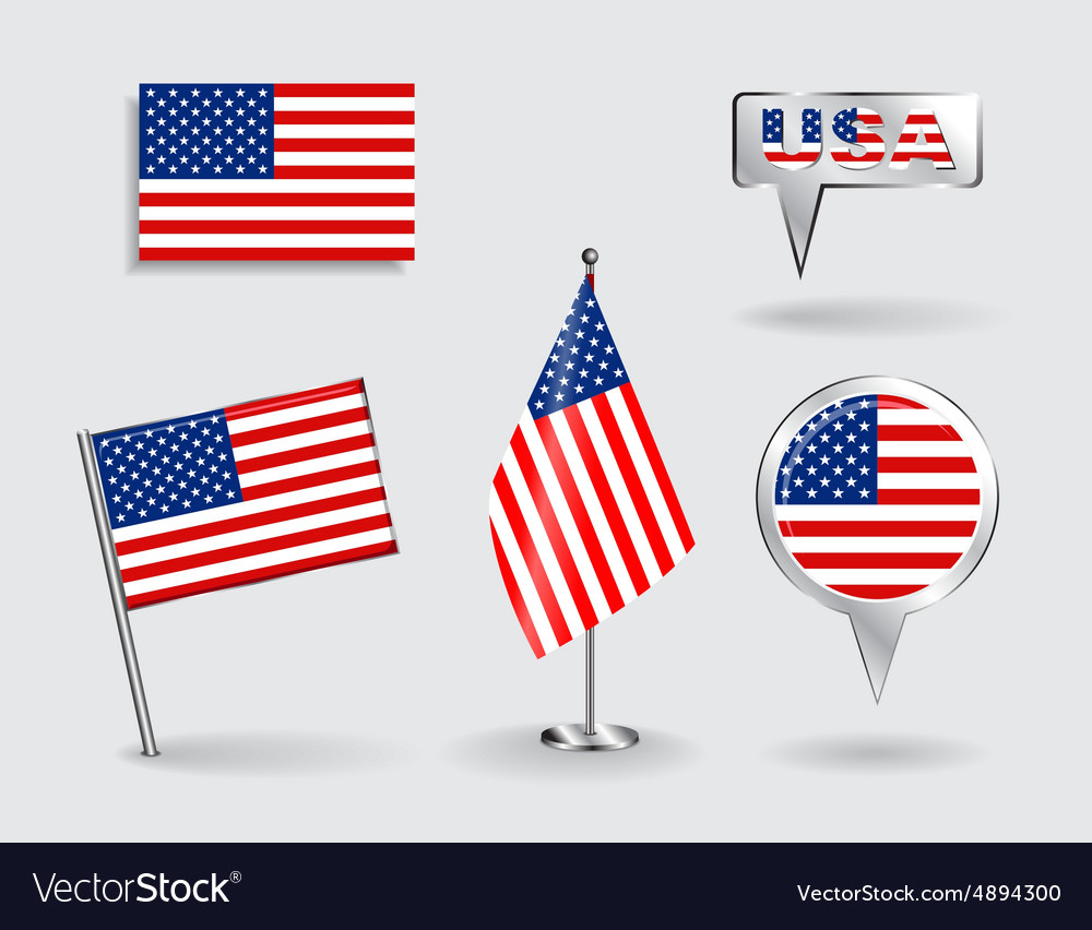 Set of american pin icon and map pointer flags vector