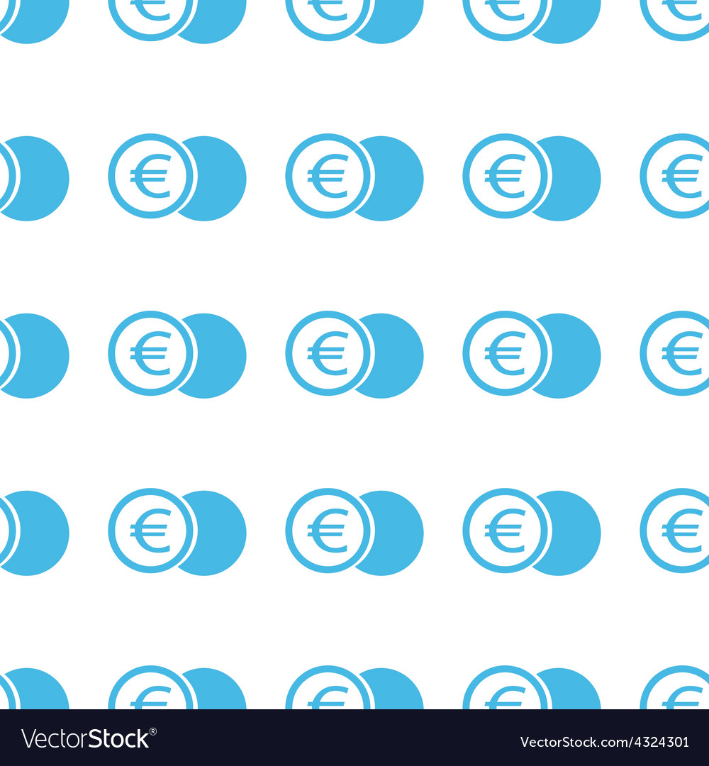 Unique euro coin seamless pattern vector