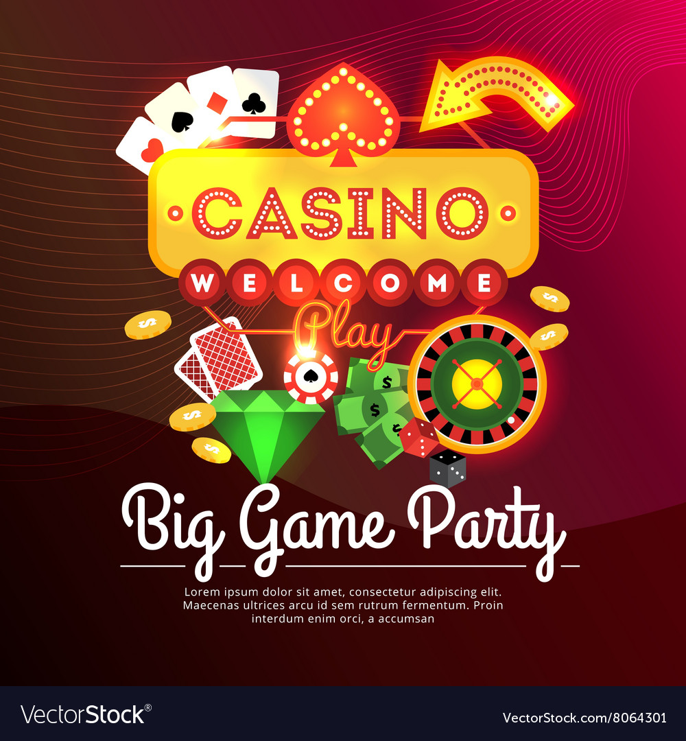 Welcome casino poster vector