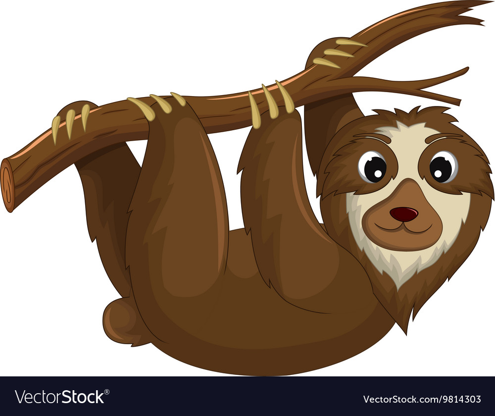 Funny monkey cartoon hinging in the branch vector