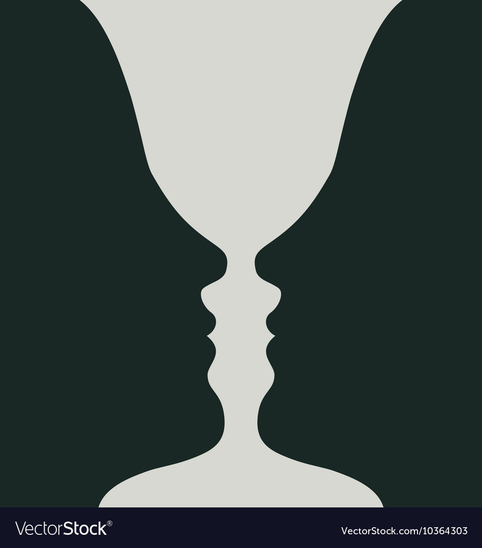 Goblet or two heads optical vector