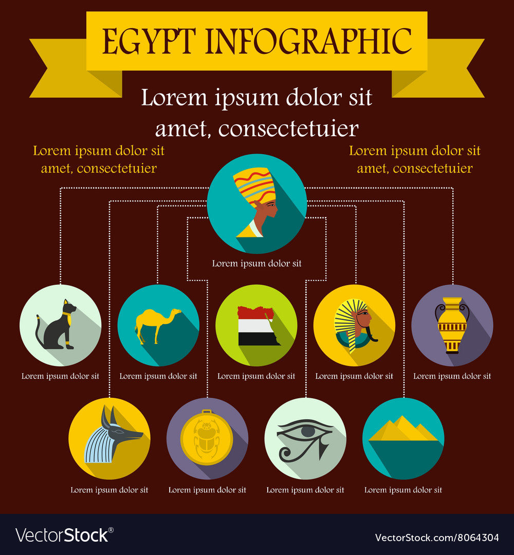 Egypt infographic elements flat style vector