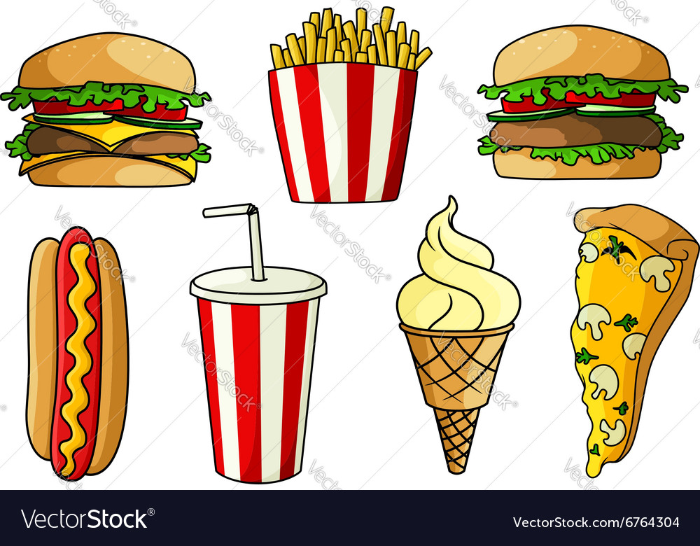 Pizza burger hot dog french fries ice cream vector