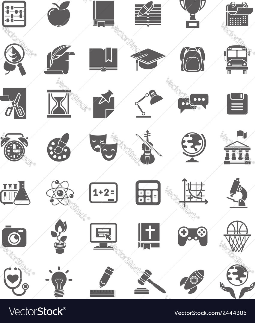 School icons dark silhouettes vector