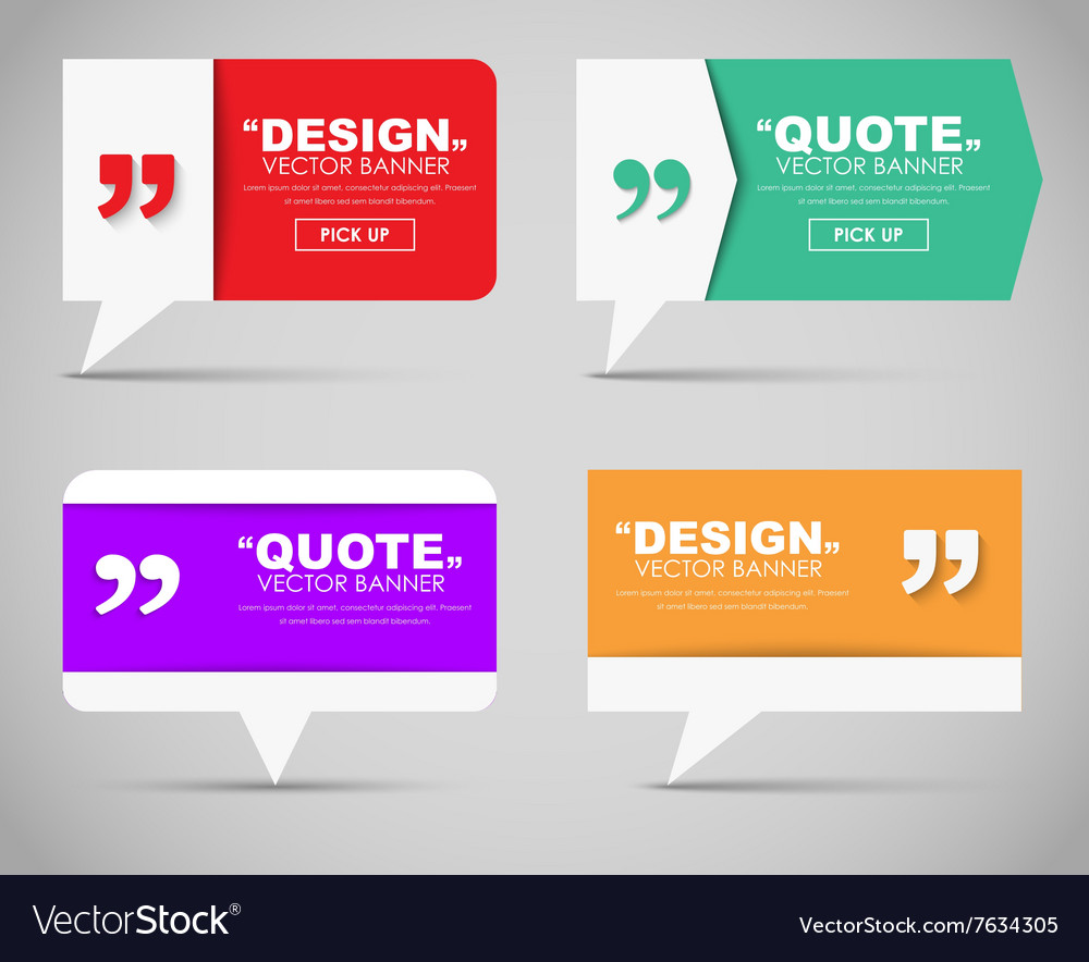 Set of banners with a quote bubble vector