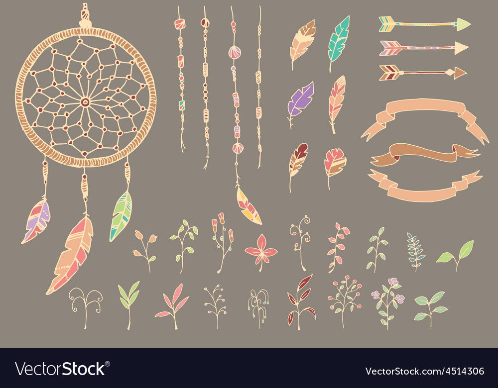 Hand drawn native american feathers dream catcher vector
