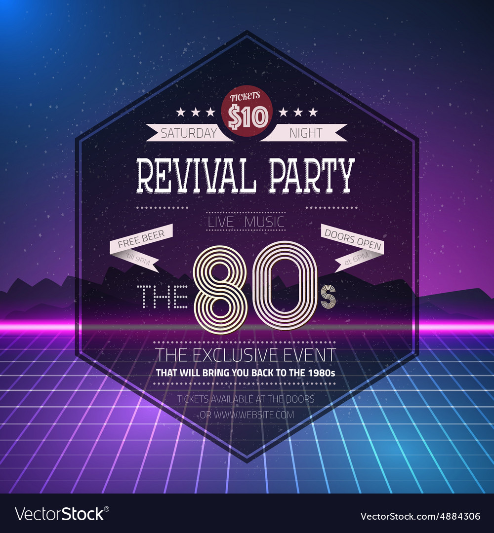 Retro 1980s revival vintage party poster neon vector
