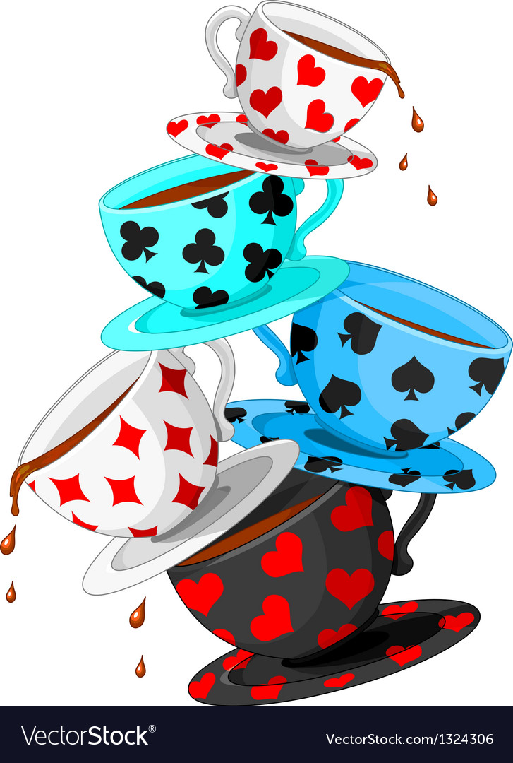Tea cups pyramid vector