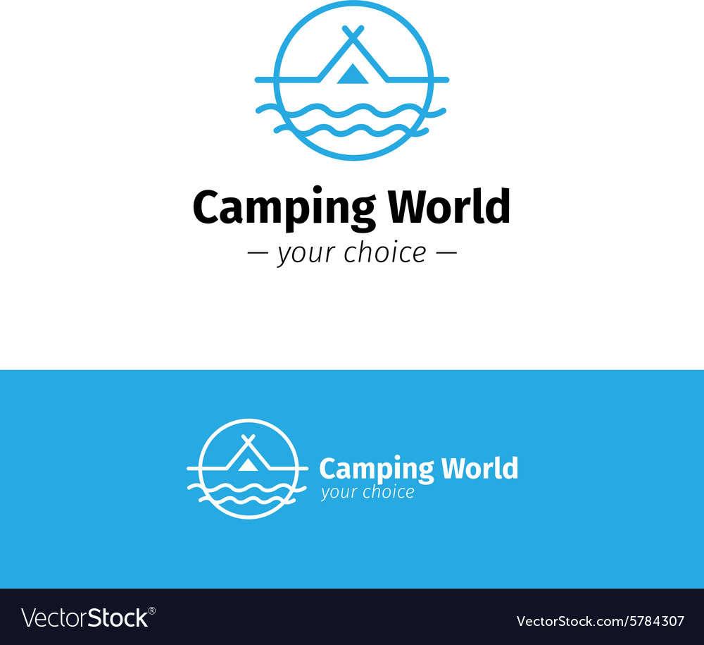 Outline camping logo tent on a river vector
