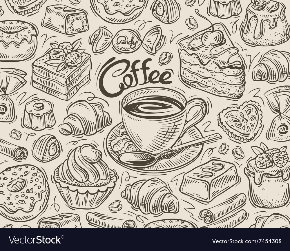 Hand drawn dessert coffee sketch and food vector
