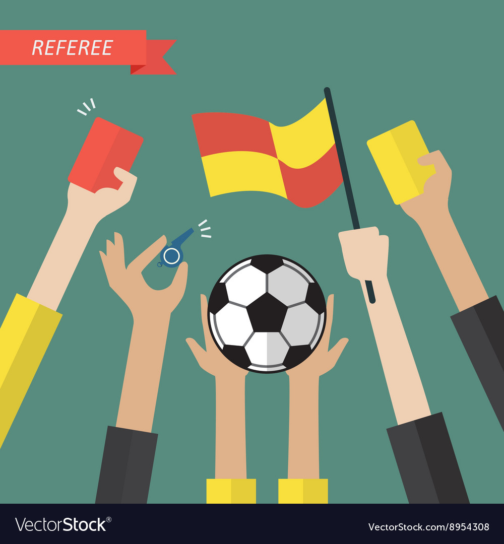 Referee hand holding a soccer icons vector