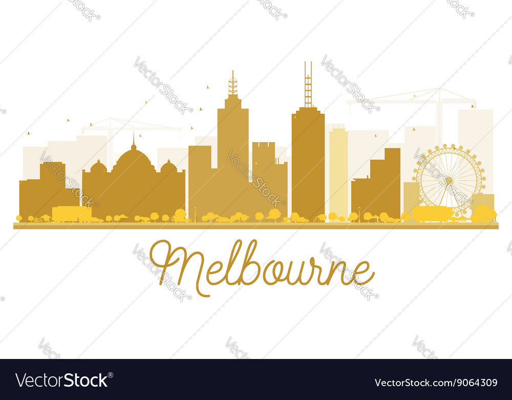 Melbourne city skyline golden silhouette vector