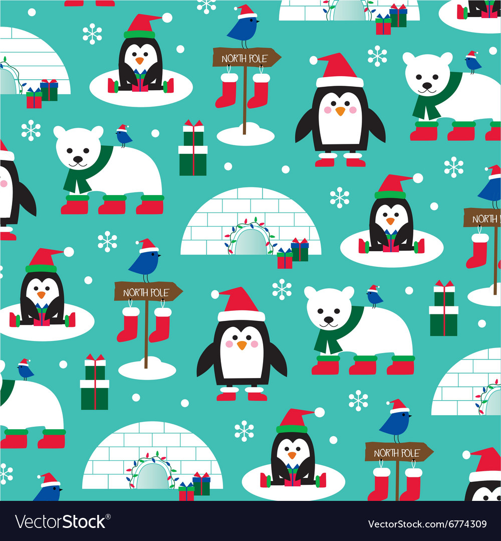 Penguins and igloos vector