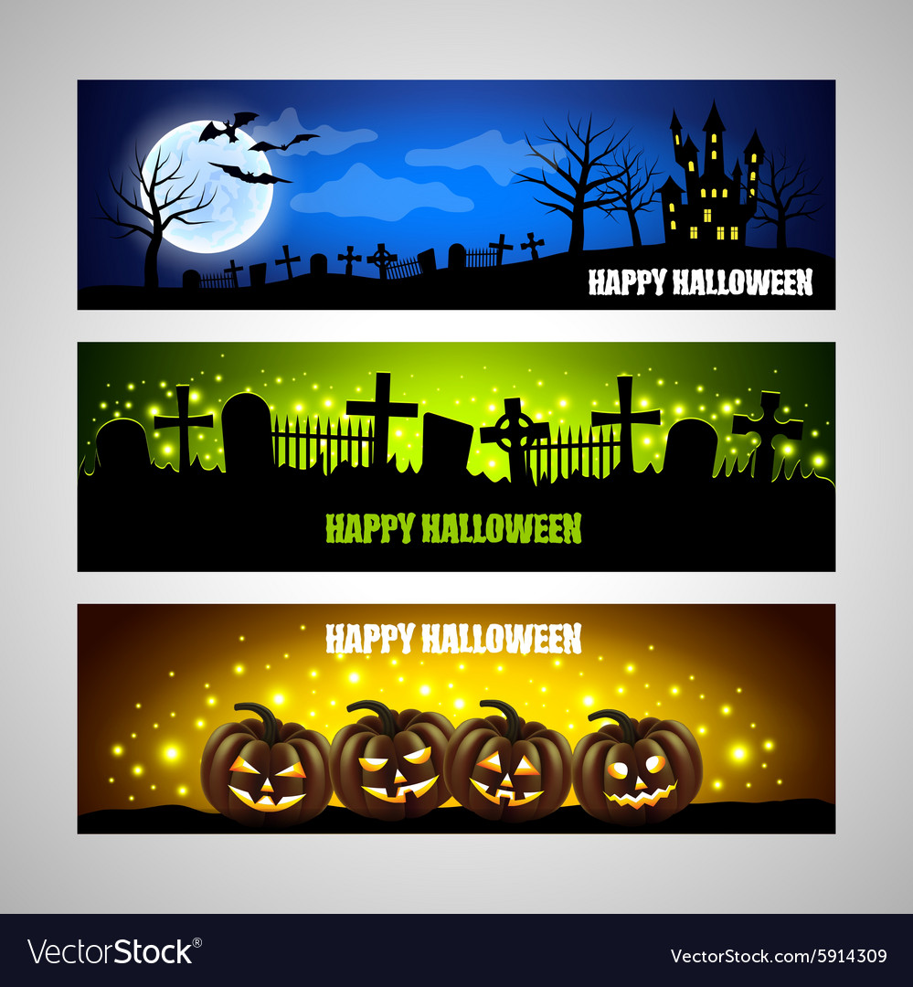 Three horizontal halloween banners vector