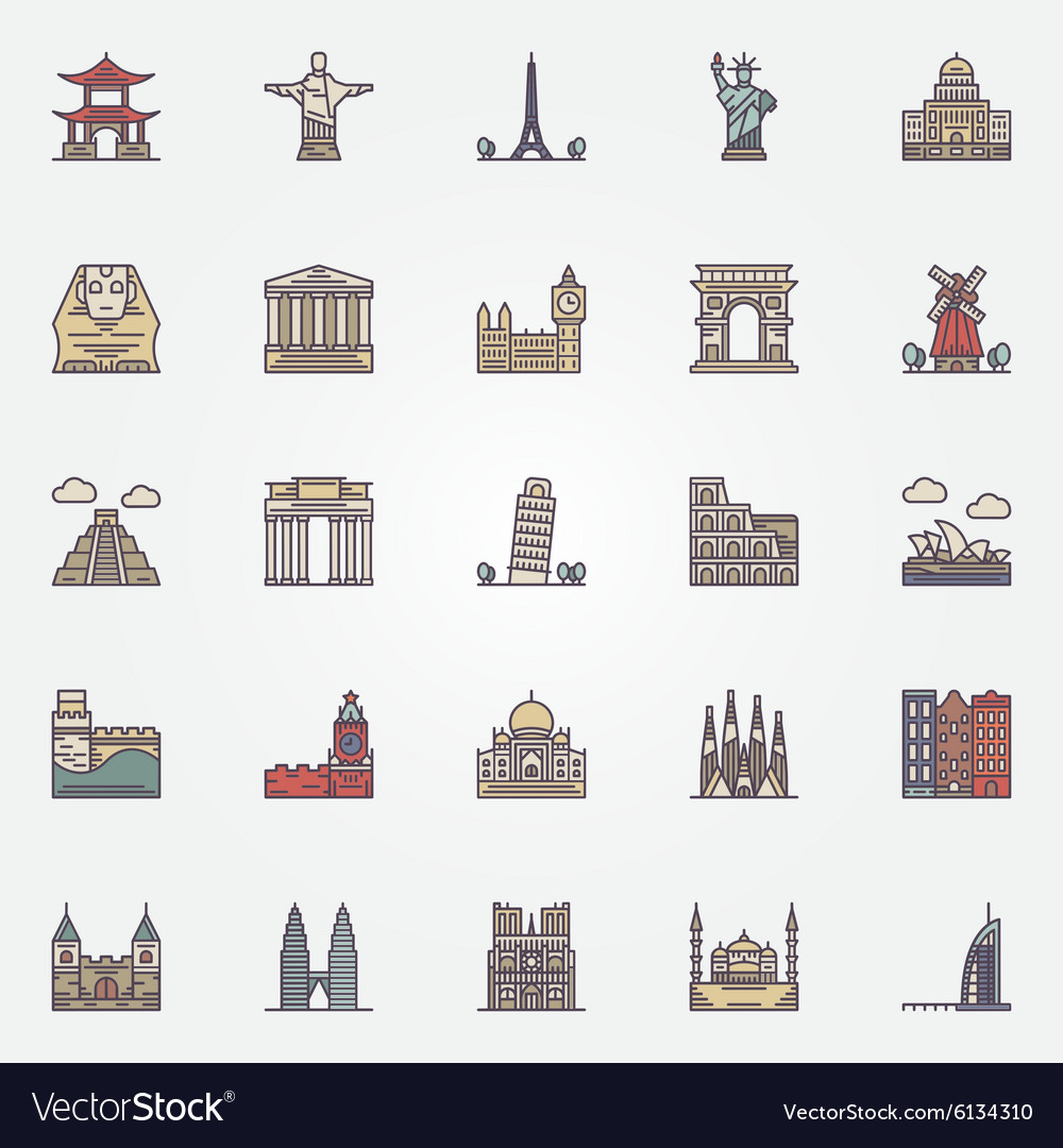 Landmark icons set vector